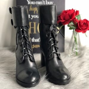 Tory Burch Black Broome LaceUp Combat Ankle Bootie